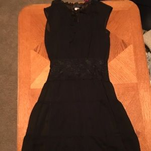 Black maxi dress with sheer overlay and lace mid